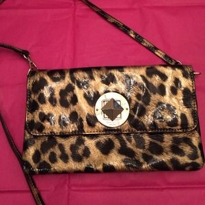Kate Spade Clutch/Crossbody Patent Leopard