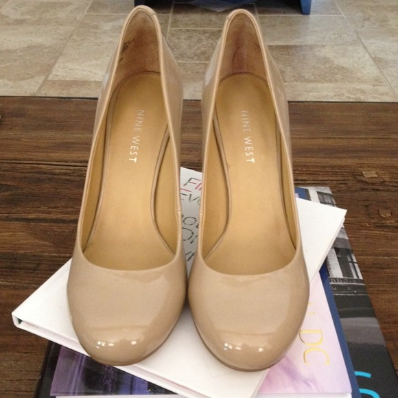 65% off Nine West Shoes - NWT Nine West Patent Nude Heels Sz. 6 ...
