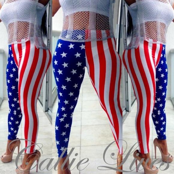 52% off Callie Lives Pants - Stars Stripe leggings from ! c's ...