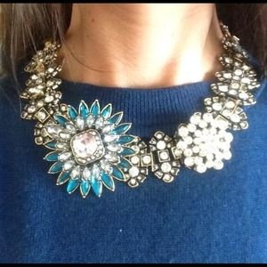 Bold flower crystal statement bib necklace