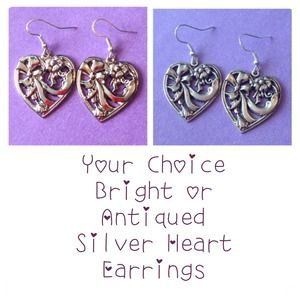 Vintage Style Silver Heart Earrings New Sterling