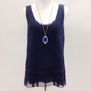 Navy Blue Silk Tank