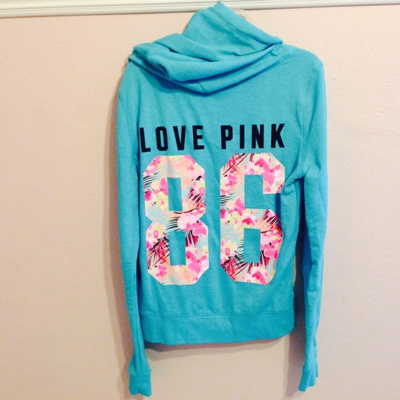 VS pink tropical zip up hoodie. M 537bf539de4f28677d042618 68ec4550a
