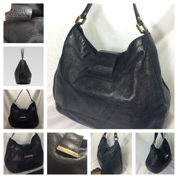 74% off Gucci Handbags - Authentic Black GUCCI Hobo Bag Guccissima ...