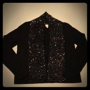 Black Jcrew Sequin 100% Wool Sweater