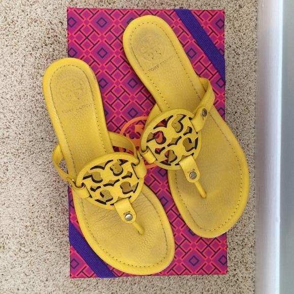 007b2cb1f6d Tory burch yellow miller sandals. M 537cfa3b14b1e077300a2e1f