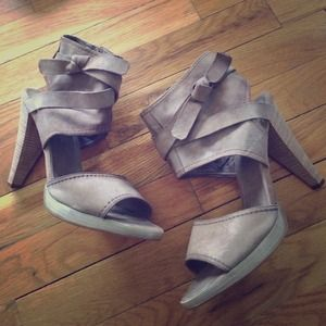 ALDO taupe suede heeled sandals with ankle strap