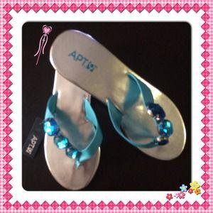 Apt 9 turquoise jeweled sandals. NWT 