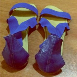 Hand Made Shoes - New Blue Elastic with Leather Strap Sandal Flats