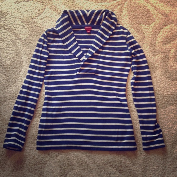 64% off Merona Outerwear - 💢Gifted💢Navy blue and white striped ...