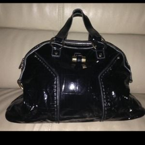 51% off Yves Saint Laurent Handbags - YSL Muse bag in black patent ...