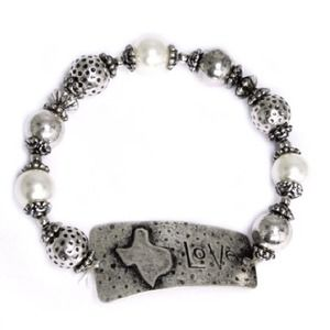 Love Inscribed Silver Bracelet