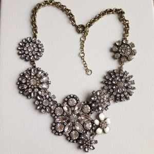 Crystal flower lattice statement necklace