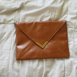 Clutches & Wallets - Brown with gold.side purse.