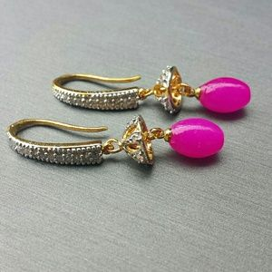 Cubic zirconia & hot pink earrings