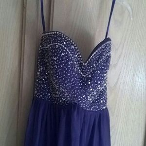 Purple sequined long dress