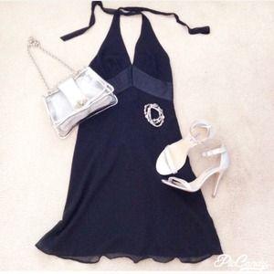 NWT EXPRESS COCKTAIL BLACK HALTER SILK DRESS