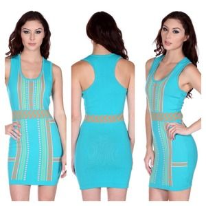 Seafoam Multi Printed Sleeveless Bandage Dress