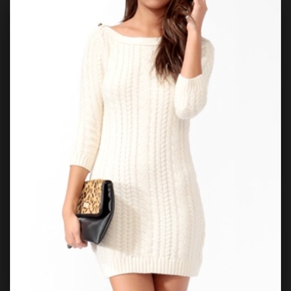 Forever 21 Dresses Forever21 Cream Sweater Dress Fitted Sz Sml