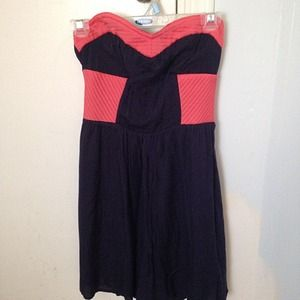 🌟REDUCED🌟Sugarlips Navy & Coral Strapless Dress