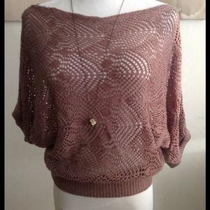 Tops - Brown crochet design batwing top