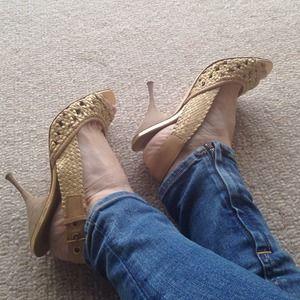 SOLD. Miu Miu woven sling back heels