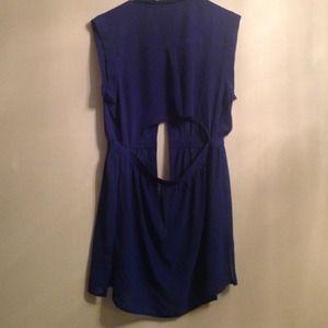 Dresses - Blue cut out back tunic