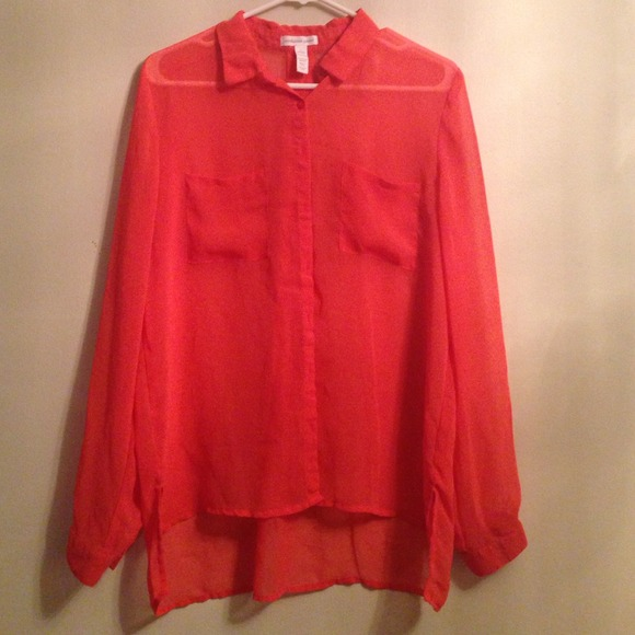 Tops - Sheer coral blouse