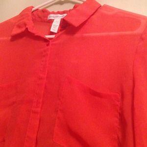 Tops - Sheer coral blouse