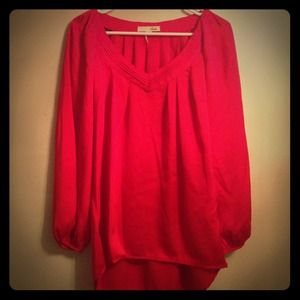 Red flowy blouse