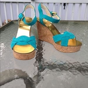 MICHAEL by Michael Kors Turquoise Suede Wedges