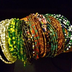 12-13 Pieces In One Of African Beaded Bracelets