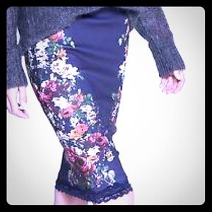 Zara floral pencil skirt with lace trim NWOT