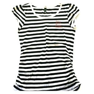 H&M Tops - Black and White Striped Tee