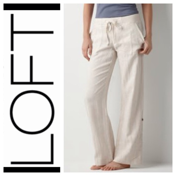 79% off LOFT Pants - White Relaxed Fit Linen Pant from ...