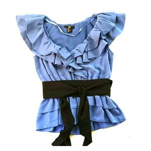 H&M Tops - SOLD Periwinkle Blue Ruffle Top