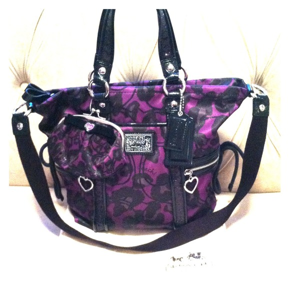 43 Off Coach Handbags Purple And Black Coach Purse From