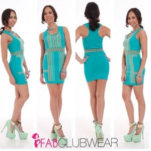 Seafoam Multi Printed Sleeveless Bandage Dress