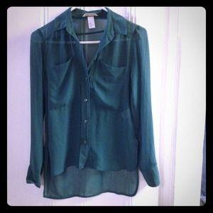 Kelly green sheer button up blouse