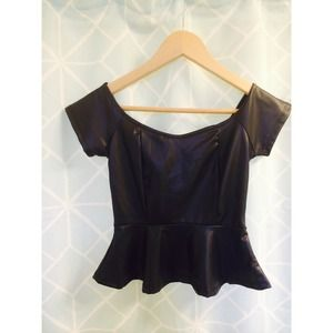 NWT faux leather peplum crop top.