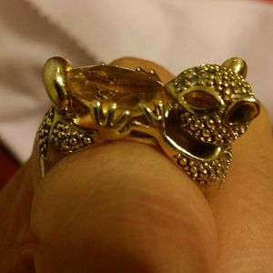 Jewelry - 14k 925 Squirrel Holding Nut Ring w large Citrine
