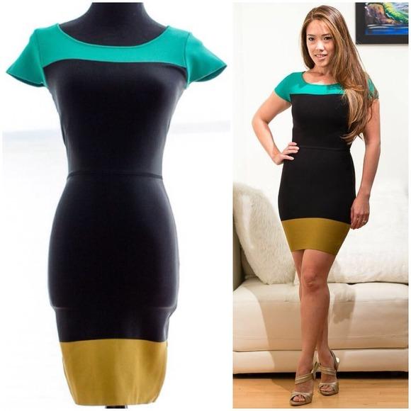 BCBG MAX AZRIA colorblock bodycon dress 527214995