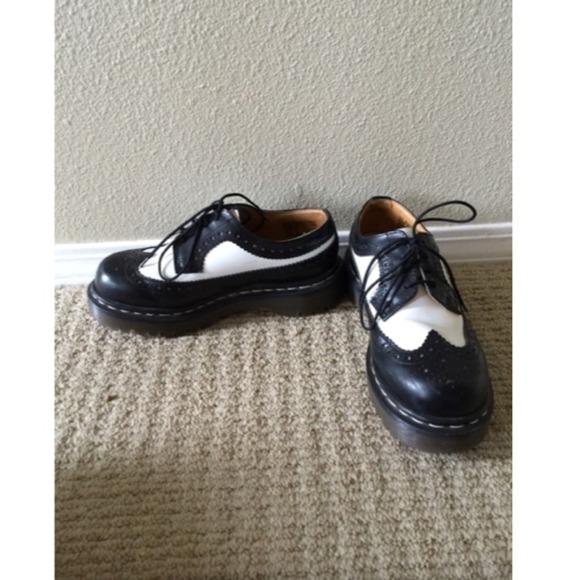 Dr. Martens Shoes - Dr. Martens Black and White Platform Oxfords e7e82e279