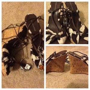 Shoes - 💕Banana Republic Laced Up Animal Print Wedges