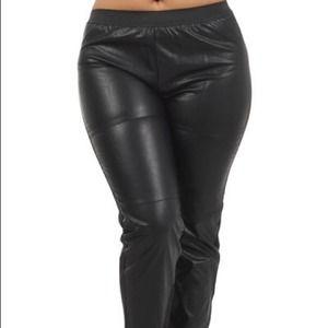 Pants - Faux leather jogging pants plus size with pockets