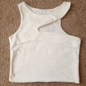 Tops - White Cut out crop top