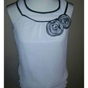White top with black trim