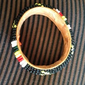 African beaded leather braclet