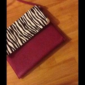 Pink and zebra print clutch