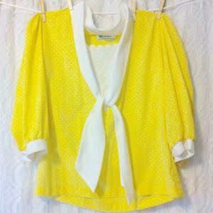 Yellow & White Polka Dot Top